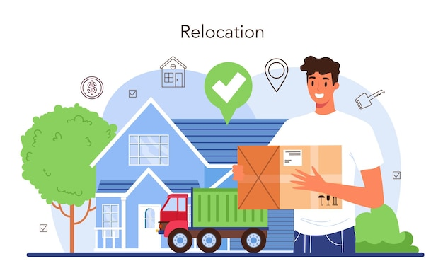 Real estate agency service relocation a new house buying