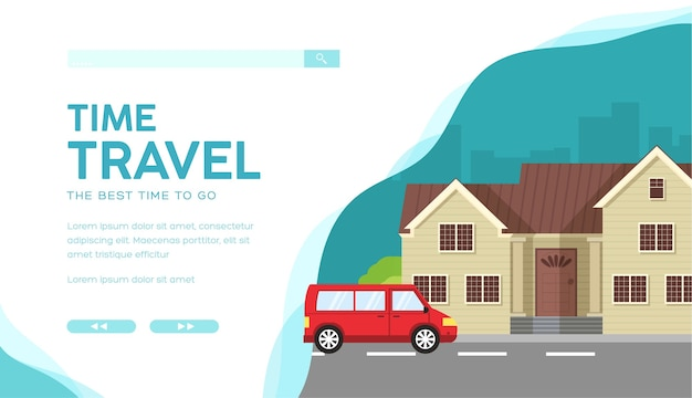 부동산 기관 서비스 벡터 방문 페이지 템플릿입니다. 임대 웹 배너 레이아웃 디자인을위한 집.