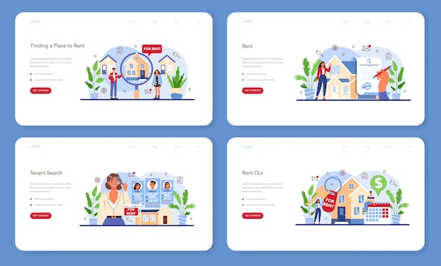 Real estate agency service web banner or landing page set. qualified realtor or broker help customer to rent or rent out a house. property leasing, tenant searching. flat vector illustration