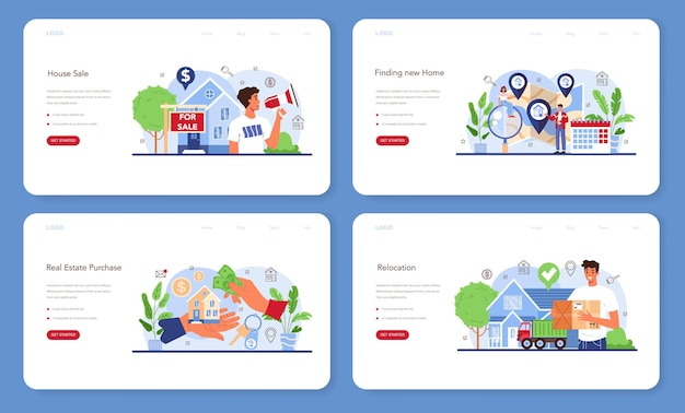 Real estate agency service web banner or landing page set. relocation, a new house buying. previous property selling. location and communications check. isolated flat vector illustration