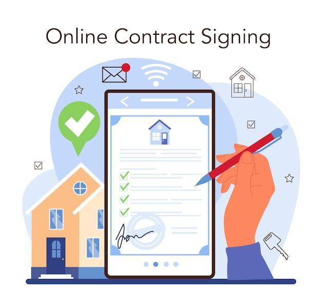 부동산 중개 서비스 웹 배너 또는 방문 페이지. 부동산 매각을 지원합니다. 온라인 계약 서명. 평면 벡터 일러스트 레이 션