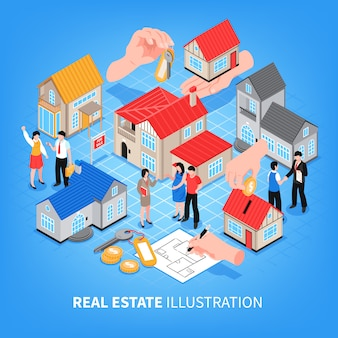 不動産業者の販売および賃貸等尺性ベクトル図の家の表示
