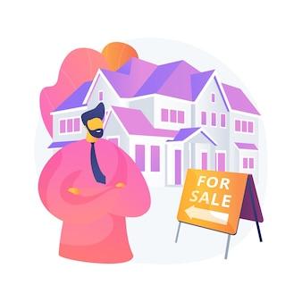 不動産業者の抽象的な概念のベクトル図です。不動産市場、エージェントが家をデモンストレーションし、不動産業者と一緒に新しいアパートを購入し、商業用不動産投資の抽象的な比喩。