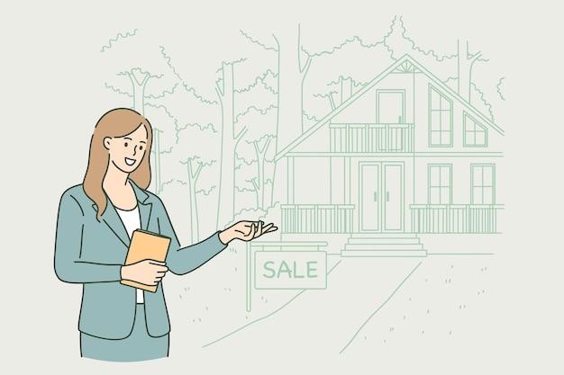 Агент по недвижимости на работе концепции
