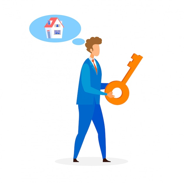 Real estate agent, dealer flat vector illustration