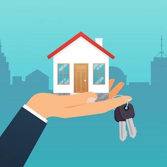 부동산 중개인은 집에서 열쇠를 가지고 있습니다. 매입 주택의 제공, 부동산 임대. 현대 일러스트 컨셉입니다.