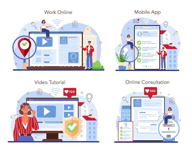 Real estate agent online service or platform set. searching for the best
