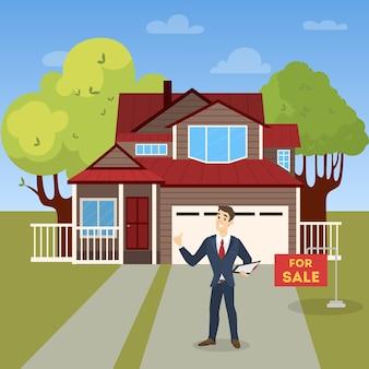 不動産業者またはブローカーのコンセプト。大きな家やアパートの売り出し。笑みを浮かべて立っている男とそれを契約でクリップボードを保持しています。図
