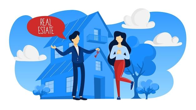 Агент по недвижимости или брокерское понятие. предложение продажи дома. женщина покупает дом. изолированная квартира