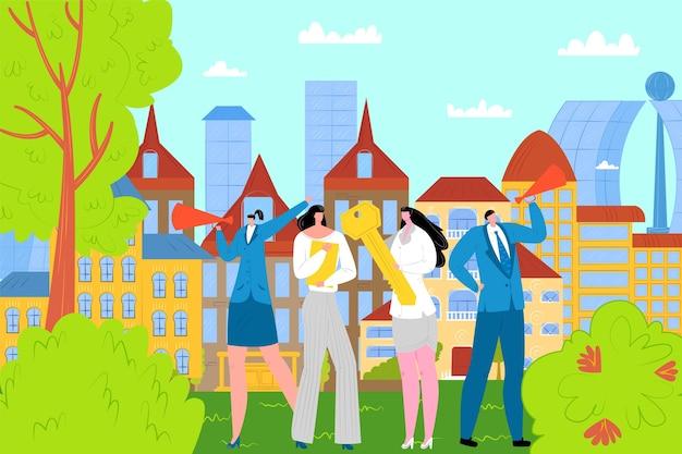부동산 중개인 또는 브로커 개념 그림. 주택 판매 제공. 판매 된 집 앞에 서있는 부동산 중개인. 부동산 사업, 아파트 매매 및 투자, 모기지.