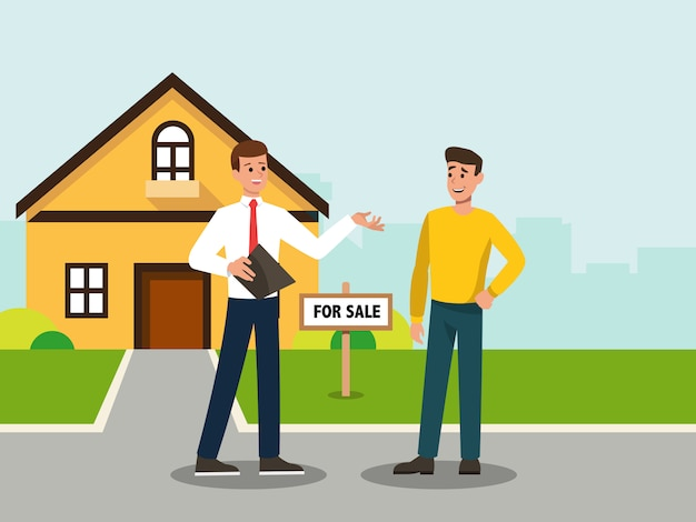 Real estate agent showing the house that he sale to the buyer
