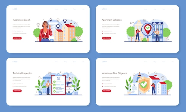 Real estate agent web banner or landing page set. qualified realtor searching for the best apartment option. property selection and technical inspection. vector flat illustration