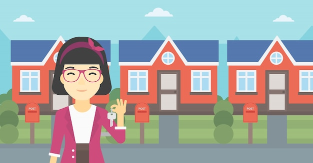 Real estate agent with key