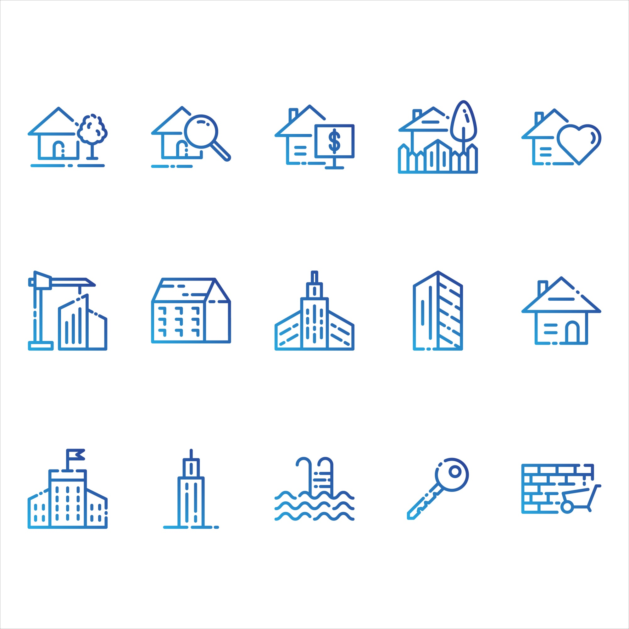 Real estate and buildings icons