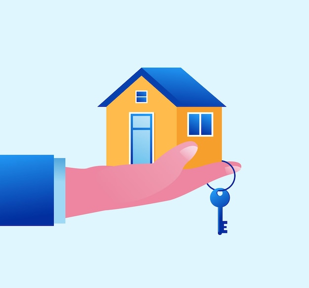Недвижимость и концепция собственности застройщика плоские векторные иллюстрации баннер и целевая страница