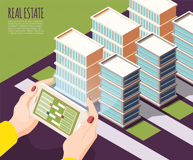 Real estate augmented reality isometric and colored background with apartments in big city  illustration