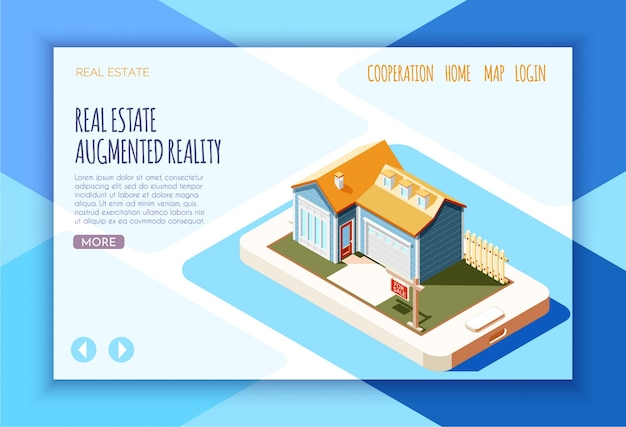 Real estate augmented reality isometric landing page with links and button more  illustration