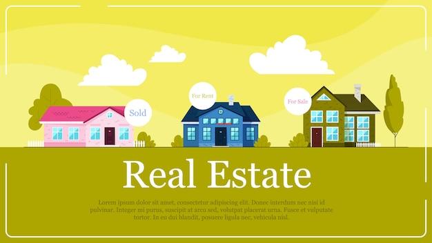 不動産バナーのコンセプトです。販売と賃貸のための家のアイデア。不動産への投資。漫画のスタイルのイラスト