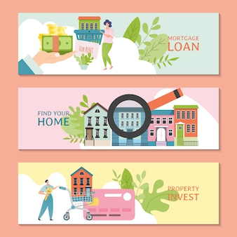 Недвижимость баннер шаблон дизайн иллюстрация. ипотечный кредит, инвестиции в недвижимость, концепция продажи недвижимости. агент по недвижимости предлагает дом.