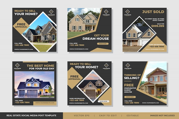Real estate banner template vector