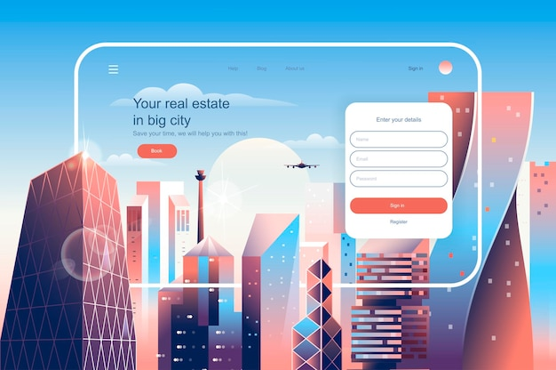 Real estate in big city landing page template vector illustration