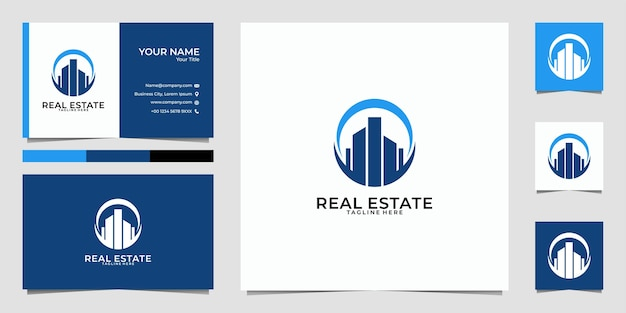 Real estate building city logo  and business card