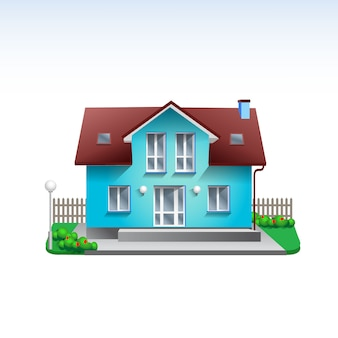 Real estate building illustration of blue house. flat style realistic home icon with garden