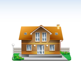 Real estate building illustration of brown house and roof. flat style realistic home icon with garden
