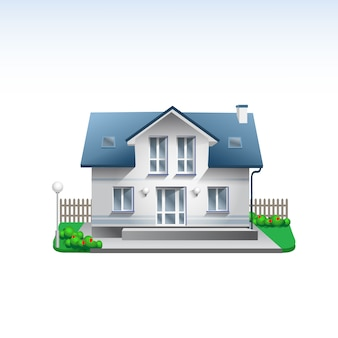 Real estate building illustration of white house. flat style realistic home icon with garden