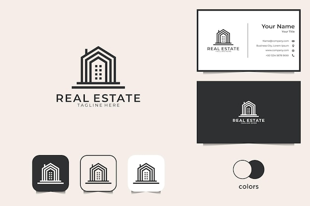 Дизайн логотипа здания недвижимости и визитная карточка
