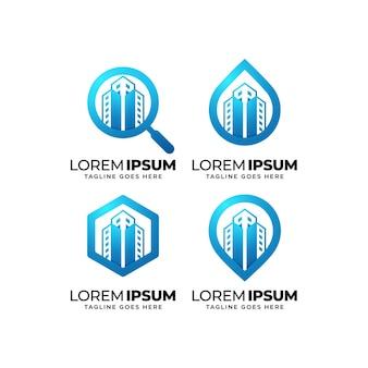 Real estate building logo design set