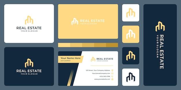 부동산 건물 로고 디자인 템플릿 및 명함 디자인.
