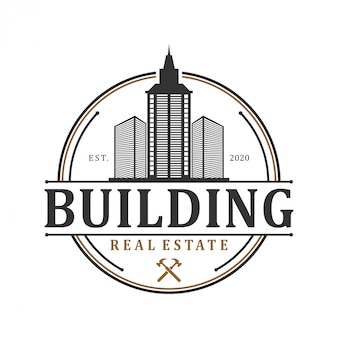 Real estate building logo - house building contractor identity window roof home improvement
