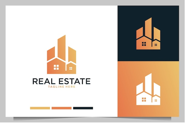 Real estate building modern home with city logo design