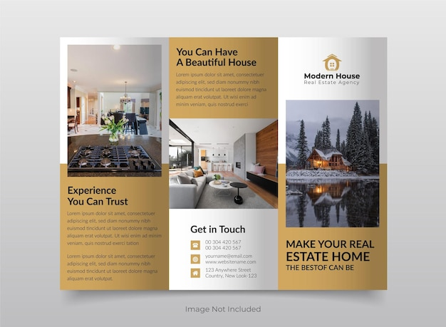 Real estate building tri fold brochure template