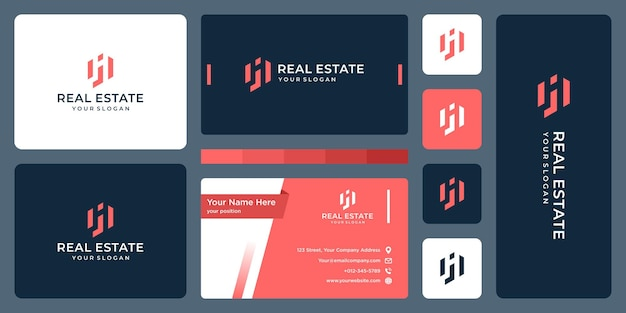 Real estate building with letter j logo and business card design. Premium Vector