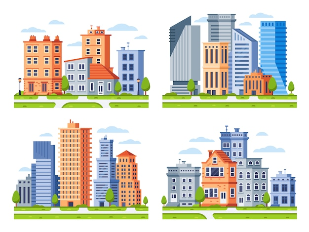 Real estate buildings. city houses cityscape, town apartment house building and urban residential district  illustration set