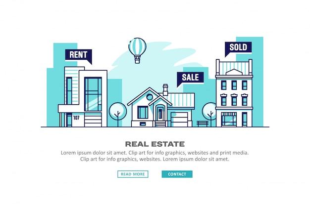 Бизнес-концепция недвижимости с домами. иллюстрации.