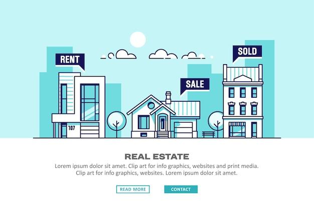 Бизнес-концепция недвижимости с домами. иллюстрация.