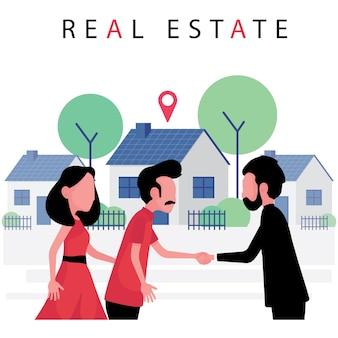 부동산 사업은 부부가 부동산업자로부터 새 집을 사서 악수를하는 것을 특징으로합니다.