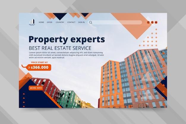 Modello di pagina di destinazione del business immobiliare