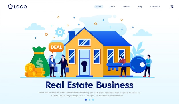 不動産ビジネスのランディングページのウェブサイトイラスト