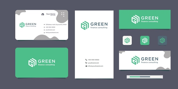 Real estate business logo design eco green logo business card design