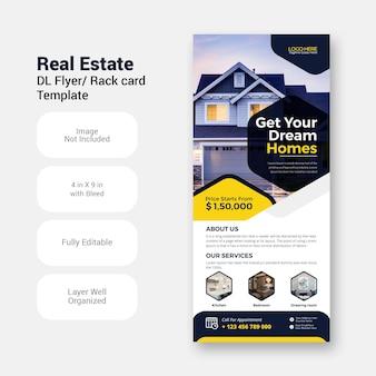 Шаблон дизайна маркетингового флаера dl бизнес в сфере недвижимости