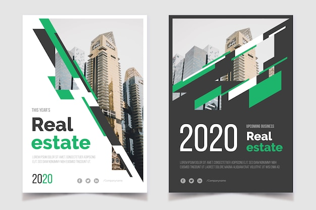 Real estate business poster and apartments