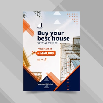 Real estate business poster template