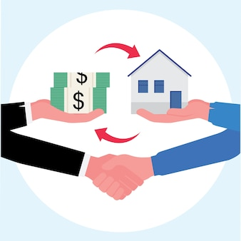Real estate business showing closing deal of buying a house exchange with cash and a handshake