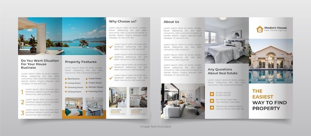 Real estate business trifold brochure template design
