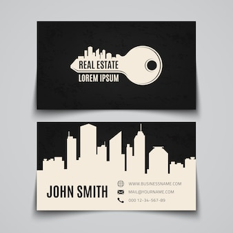 Real estate card with simple key logo
