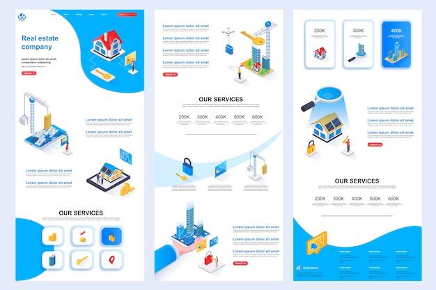 不動産会社のアイソメトリックウェブサイトテンプレートのランディングページの中間コンテンツとフッター